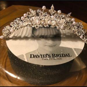 Rhinestones and Pearls Tiara, From David's Bridal